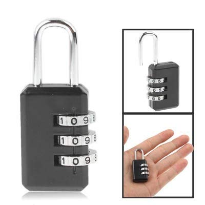 Resettable Combination Lock Password Small Lock 3 Digit Security Travel Lock (Color : Black)