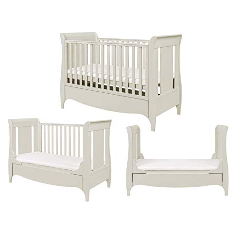Tutti Bambini Roma Wooden Sleigh Cot Bed with Space Saver Under Bed Drawer - 140 x 70cm 3 Adjustable Positions (Linen)