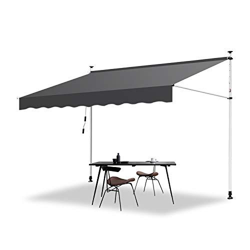 Hengda Markise Einziehbar Klemmmarkise Balkonmarkise Sonnenschutz ohne Bohren Höhenverstellbar (300 x 120 cm, Grau)
