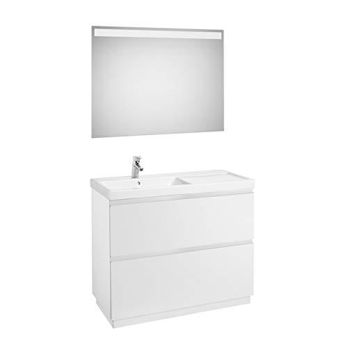 Lavandino posizione sinistra + Mobile base a 2 cassetti a terra + specchio LED, confezione Lander...