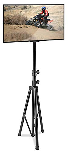 """Pyle Premium LCD Flat Panel TV Tripod, Portable TV Stand, Foldable Stand Mount, Fits LCD LED Flat Screen TV Up To 60"""", Adjustable Height, 67 lbs Weight Capacity, VESA 75, 100, 200mm (PTVSTNDPT3211)"""