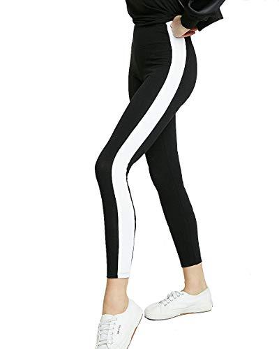 Shocknshop Women's High Waisted Stretch Wide Stripe Ankle-Length Mid Waist...
