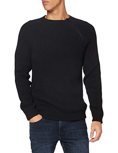 Calvin Klein Moto Zip Sweater Suéter, CK Black, XXL para Hombre