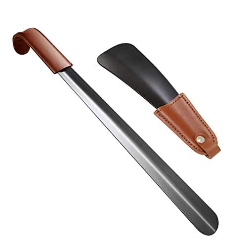 LERT 2 Stück Schuhlöffel 42cm+16cm Schuhanzieher Lang Edelstahl-Schuhlöffel Schuh Horn Schuhlöffel für Männer/Frauen (schwarz)