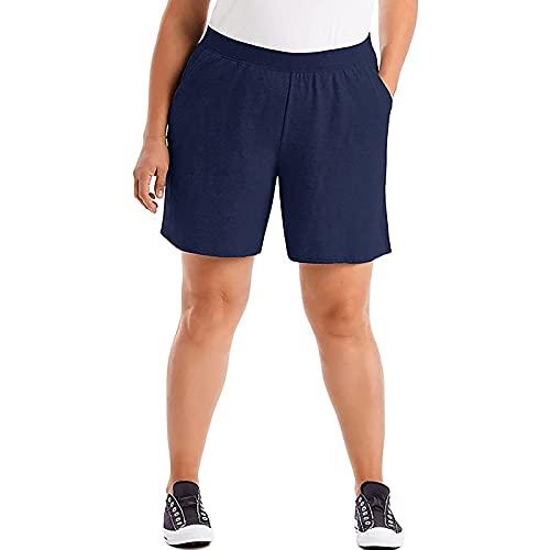 FMYONF Pantalones cortos elásticos de yoga para mujer, talla grande, pantalones cortos de cintura alta, pantalones cortos elásticos con cordón, azul, XL
