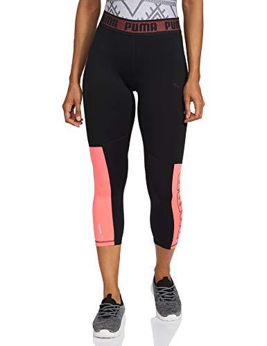 PUMA Logo Elastic 3/4 Tight Mallas Deporte, Mujer, Black-Ignite Pink, M