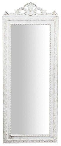 Biscottini Specchio Specchiera da Parete con Cornice Rettangolare in Legno 35x2x90 cm Finitura Bianco Anticato da Appendere
