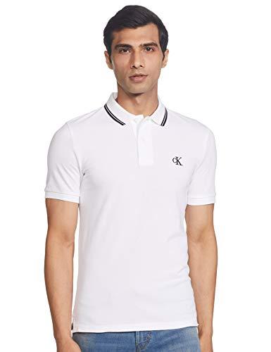 Calvin Klein CK Essential Tipping Slim Polo, Blanco (Bright White/Black Yaf), XXL para Hombre