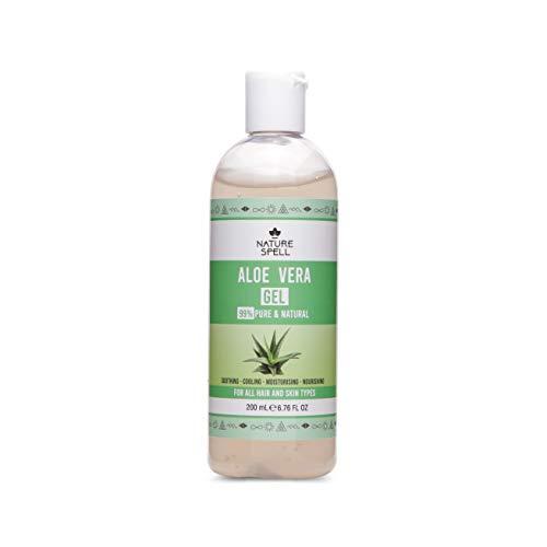 Nature Spell Aloe Vera Gel 99% rein 200ml - Beruhigend & feuchtigkeitsspendend - Für alle Haar- & Hauttypen - Hergestellt in Großbritannien, 100% Vegan