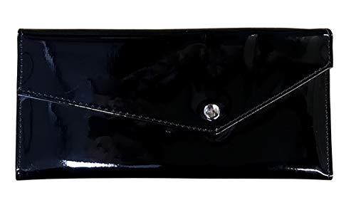 Damen Geldbörse schwarz viele Fächer Lack Leder Portemonnaie groß