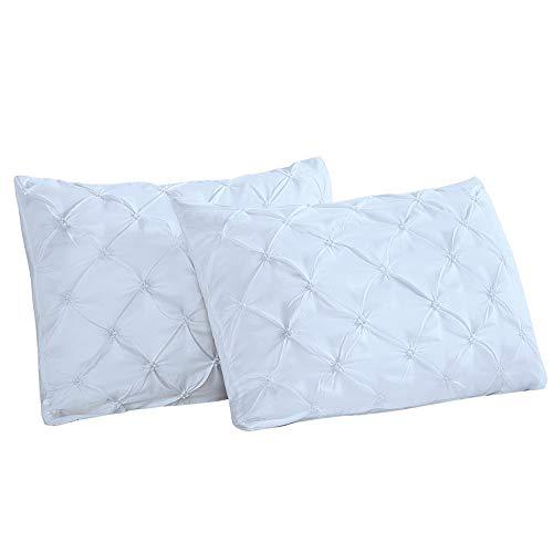 Vaulia Lightweight Microfiber Pillow Shams, Well Designed Pinch Pleat Pattern, Grey Color King Size, 2-Piece Set