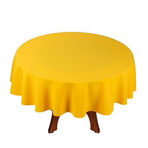 StoffTex Tischdecke Tischläufer Tischtuch Tischwäsche Tischdekoration Tafeltuch (Gelb, Rund Ø 140cm)