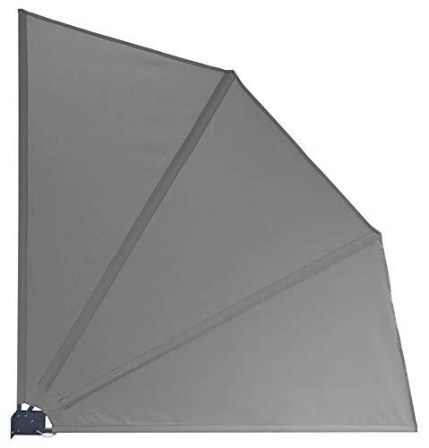 GRASEKAMP Qualität seit 1972 Balkonfächer Premium 140x140cm Grau mit Wandhalterung Trennwand Sichtschutz