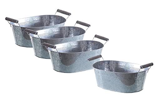 Zink Planzkästen im 4er Set jeweils 33,5 cm - oval mit Griffen - Kräutertopf Kräuterbeet Deko Blumenkasten