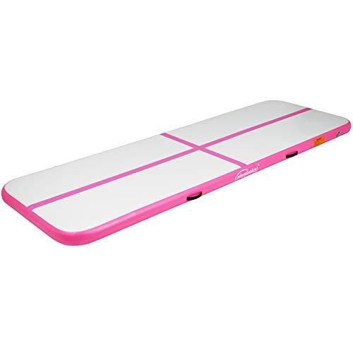 Physionics Track - aufblasbar, mit elektrischer Luftpumpe, PVC, Air, Farbwahl, Größenwahl: 3 4 5 6 7 8 m - Gymnastikmatte, Tumbling Matte, Trainingsmatte, Fitnessmatte (Pink, 300x100x10 cm)