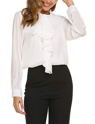 Beyove Damen Elegant Business Chiffon Bluse Schluppenshirt Stehkragen mit Rüschen Langarmshirts Knöpfen Festlich Tops