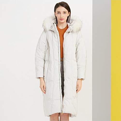 Halflange jas met afneembare bontkraag vrouwelijke modetrend laag, 90% witte ganzendons, dubbele rits, lange mouwen, warm houden, 1pc (Color : White, Size : S)