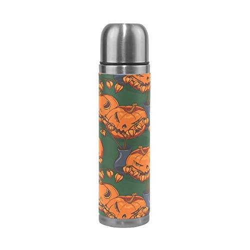 Ahomy - Borraccia in Acciaio Inox con Motivo a Zucca di Halloween, Tazza da caffè da 500 ml