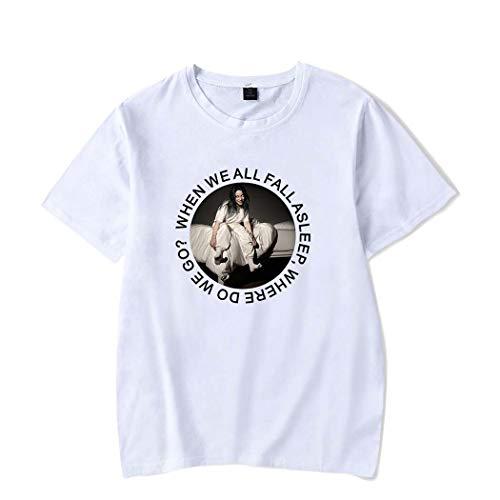 Unisex Billie Eilish Camiseta de Manga Corta Bellyache Estampada Hiphop Tops Street T-Shirt Fans tee para Hombres Mujeres Adolescentes