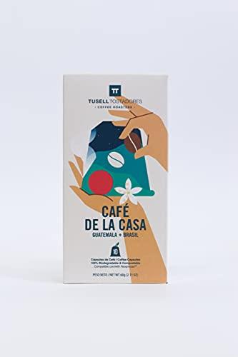 Capsulas Nespresso ® Compatibles   100% Biodegradable y Compostable   Pack 6 (6x10)   60 Capsulas   Tusell Tostadores (Cafe...