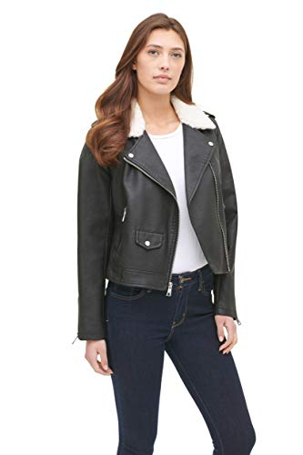 Levi's Women's Belted Assymetrical Motorcycle Jacket, Black/Cream Sherpa, Large