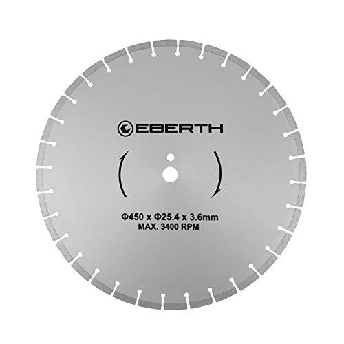 EBERTH Profi Diamanttrennscheibe Diamantscheibe universal Trennscheibe für Nass- und Trockenschnitt (450 mm Durchmesser, Bohrung 25,4 mm, Blattstärke 3,6 mm, U/Min. max. 3400)