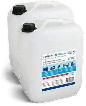 Demineralisiertes Wasser BioFair® (20l) nach VDE 0510-2 x 10 Liter (destilliertes Wasser) - VERSANDKOSTENFREI