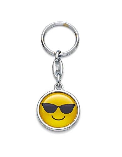 Schlüsselanhänger Emoji Cooles Smiley mit Sonnebrille Gesicht Happy Face Silber Farbe