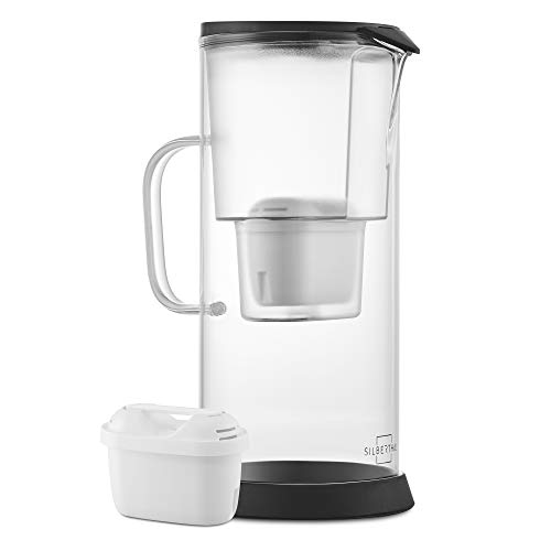 SILBERTHAL Wasser Filterkanne - Glas - Inklusive 1 Wasserfilter-Kartusche - Reduziert Kalk und Chlor - 2,7 Liter
