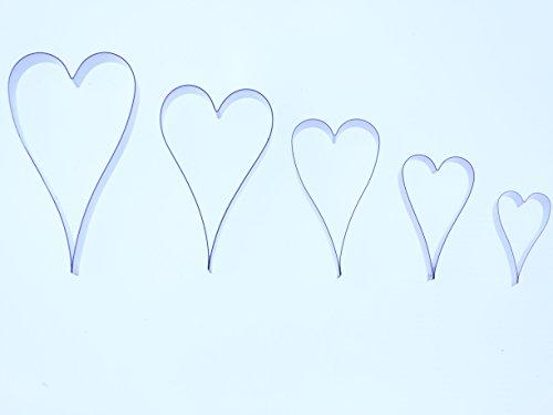 Langer Herz-Ausstechformen, Edelstahl, Sugarcraft Ausstecher-Set enthält fünf Formen von 65,55,45,35 und 25 mm-Valley-Company Ausstechformen Fondant, Kuchendeko, Zuckerfiguren, Polymer Clay und Edelmetalle
