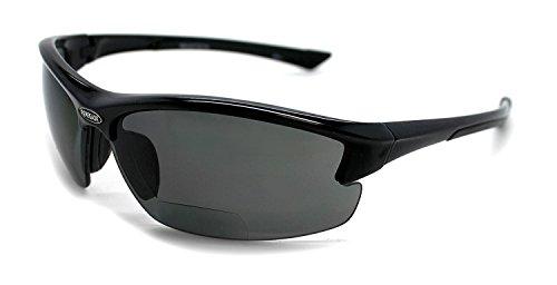 Renegade Patented Bifocal Polarized Reader Half Rim Men's Fishing Sunglasses 100% UV Protection with Microfiber Bag (Black Frame, Grey Lens - 613649, Bifocal +2.50)