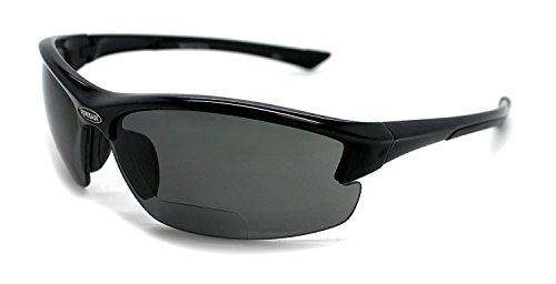 Renegade Patented Bifocal Polarized Reader Half Rim Men's Fishing Sunglasses 100% UV Protection with Microfiber Bag (Black Frame, Grey Lens - 613649, Bifocal +2.00)