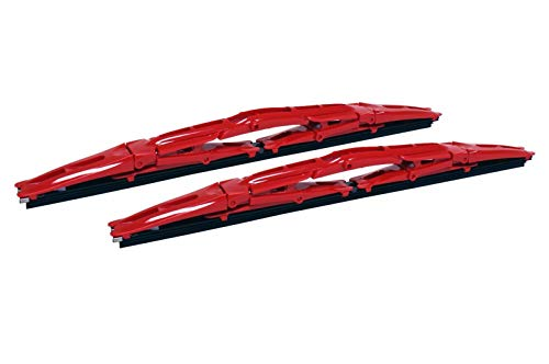 Double Dual Blade Universal Windshield Wiper 2PC Set All Season (Red, 16)