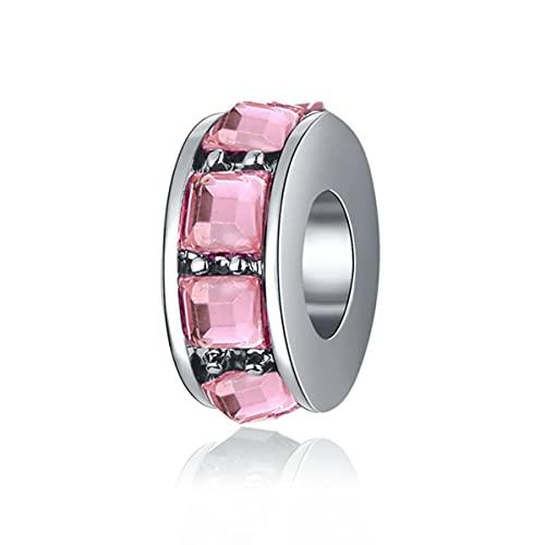 Gran oferta, cuentas de Clip brillantes de circonita colorida que se ajustan al encanto Original, brazalete de pulsera de Color plateado para mujer, regalo de joyería DIY-D105