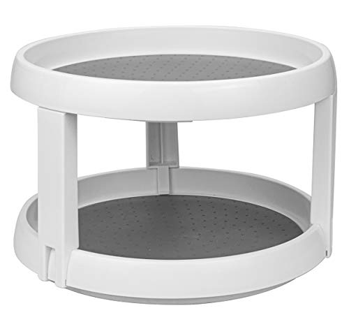 Lawei 10 Inch Plastic Lazy Susans Turntable - 2 Tier Lazy Susan Organizer Kitchen Storage Turntable for Spices Condiments Baking