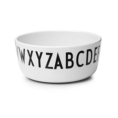 Design Letters Melamin Schale/Schüssel für Baby und Kinder (Weiß) - BPA-frei und BPS-frei, mit A-Z-Alphabet Druck, ideal für Frühstück, Snacks und Abendessen, spülmaschinenfest, 80 g, D: 11cm