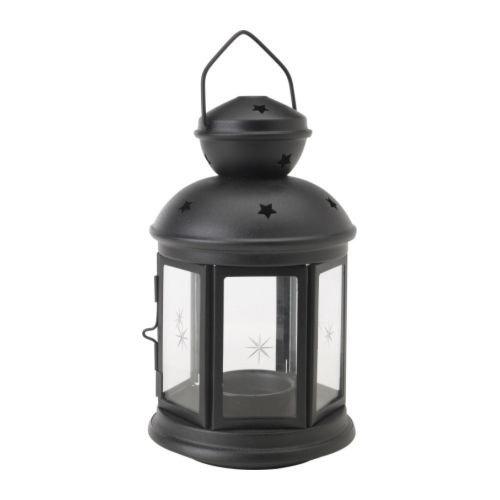 IKEA ROTERA Laterne für Teelicht in schwarz; (21cm)