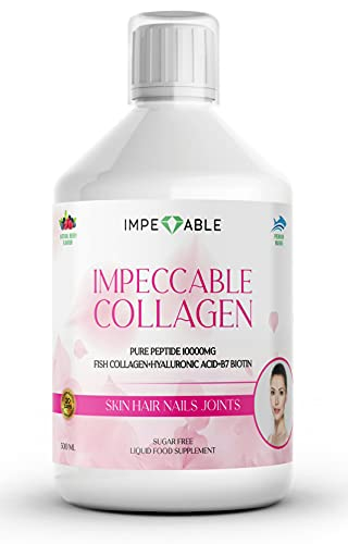 IMPECCABLE Collagen 10.000mg hydrolyzed Liquid Marine Collagen | Supplements for Women and Men | Hair Growth | Nails & Skin Care | Healthy Joints | hyaluronic Acid Vitamin C D & B | 20 Days Supply