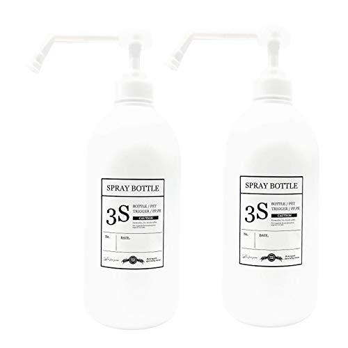 スリーエス アルコール 除菌 専用 シャワーポンプ スプレーボトル 容器 ホワイト きれいに剥がせるラベル付き 800ML 2本セット