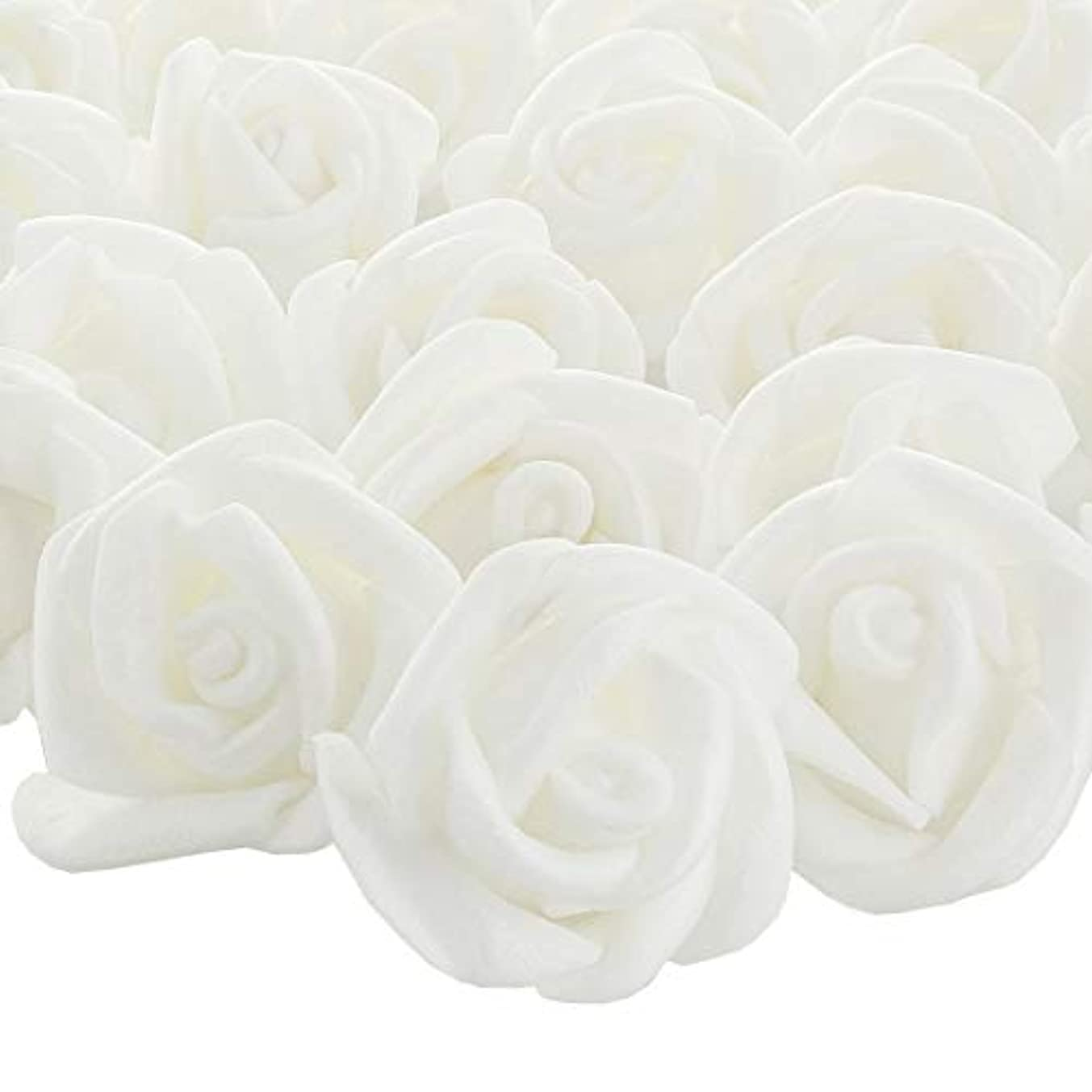 Bright Creations 200-Pack White Rose Flower Heads for DIY Crafts, Weddings, Decor, 3 x 2.5 Centimeters