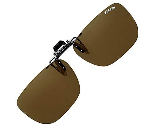 日本製 偏光 前掛け クリップ 式 サングラス メガネの上から 紫外線カット UVカット 超軽量 跳ね上げ式 大きめ かっこいい キーパー BR 9338-01