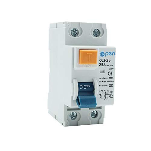 2P RCCB 2P 25A / 40A / 63A Interruttore differenziale di dispersione Interruttore differenziale corrente Protezione da cortocircuito sulle perdite di sovraccarico Interruttori automatici (300mA, 25A)