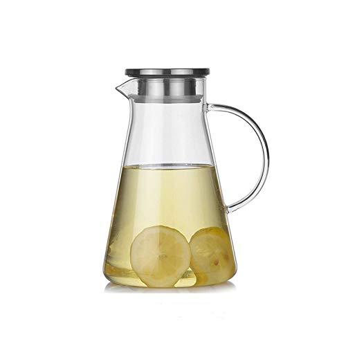 Bouilloire Pot à jus en verre de grande capacité avec couvercle en acier inoxydable Pichet à eau à bec de canard résistant à la chaleur domestique avec poignée Bouilloires à thé (Couleur: 2200 ml)