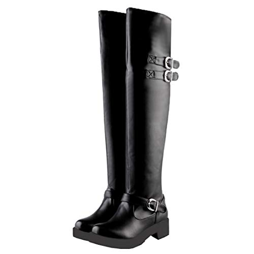 MISSUIT Damen Flache Overknee Stiefel Plateau Langschaft Boots mit Schnallen Winter Schuhe(Schwarz,41)