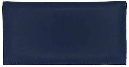 Blue Basic Leather Checkbook Cover