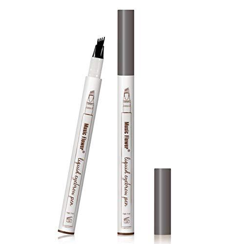 Augenbrauen Tattoo Pen Micro Ink Brow Pen 4 Punkte Microblading Eyebrow Pencil Langlebiger wasserdichter Augenbrauenstift Erstellt Mühelos Tägliches Make-up Natürliche Augenbrauen (Dunkelgraues EB03)
