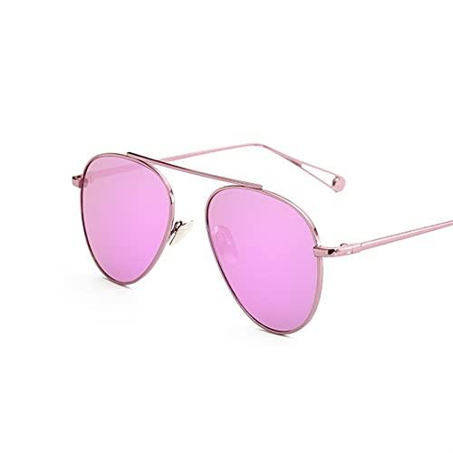 YSJJXTB Gafas de Sol Gafas de Sol de la aviación de Lujo Mujeres Diseñador Mirror Vintage Retro Gafas de Sol para Mujer Señoras Oval Gafas de Sol Mujer (Lenses Color : Pink Purplepink)