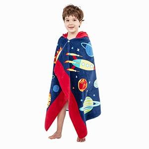Poncho à Capuche Serviettes de Bain Peignoir de Coton Pour Enfants Serviette de Plage Pour la Natation Filles Garçons Bébé Séchage Doux et Chaud (Planète)