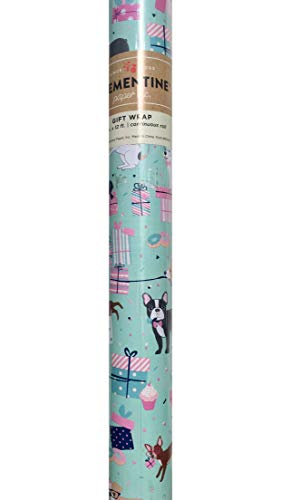 Clementine Birthday Whimsical Multi Puppy Dogs Presents 'n Sweets Premium Gift Wrap Continuous Paper Roll, Aqua (610014)