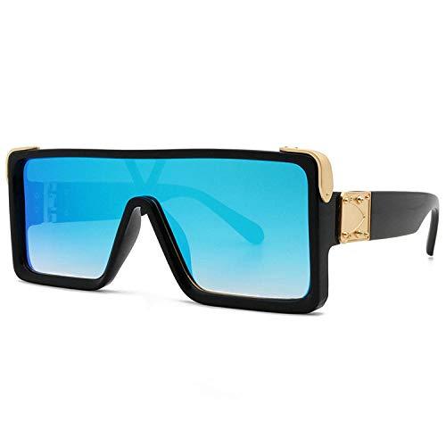 Gafas de sol de moda con montura de una pieza, montura negra, película de mercurio azul